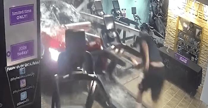 Car Bursts Through Gym Wall, Almost Kills Unsuspecting Man on Treadmill