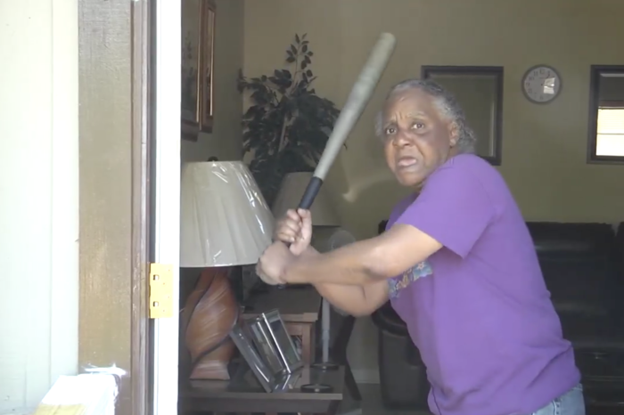 Old Lady Who Used to Play Softball Bashes Would-Be Attacker Over Head with Baseball Bat