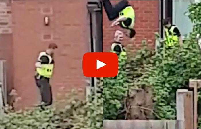 Bored Cop Filmed Doing Flips On Trampoline During Drug Raid