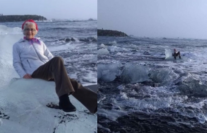 This Grandma Is Being Called The 'Iceberg Queen' After Being Swept Out To Sea While Posing For A Photo