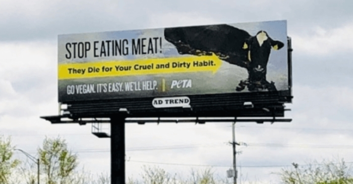 PETA Puts Up Billboards Blaming Recent Midwest Flooding's on Meat-Eaters