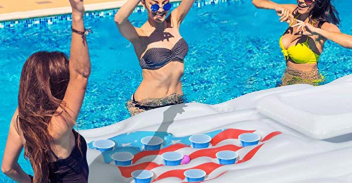 This Beer Pong Raft With a Cooler Inside Will Kick Summer Up a Notch
