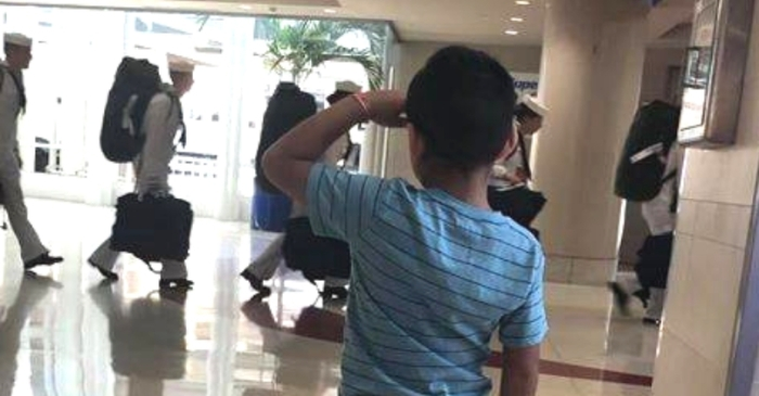 6-Year-Old Boy Goes Viral After Saluting Military Men at Airport