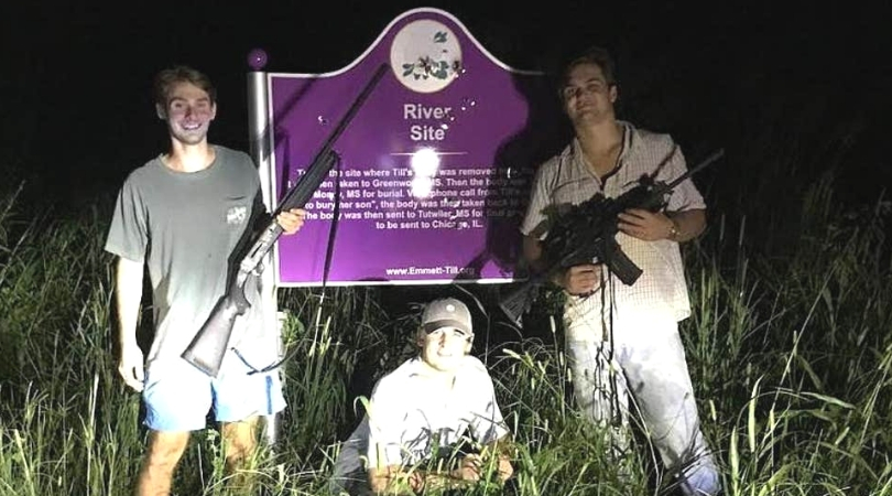 Frat Members Pose With Guns In Front of Emmett Till's Bullet-Ridden Memorial
