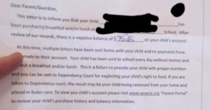 School Warns Parents Their Children Could Be Put in Foster Care Over Lunch Debt