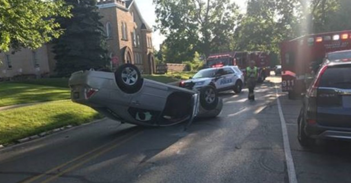 Woman Accidentally Flips Car to Avoid Hitting Squirrel