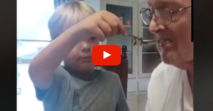 Heartwarming Video Shows 6-Year-Old Boy Patiently Feeding Grandfather With Alzheimer's