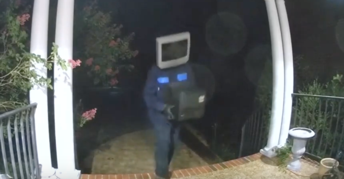 Crazy Man Wearing TV on Head is Creeping onto People's Porches in Middle of Night