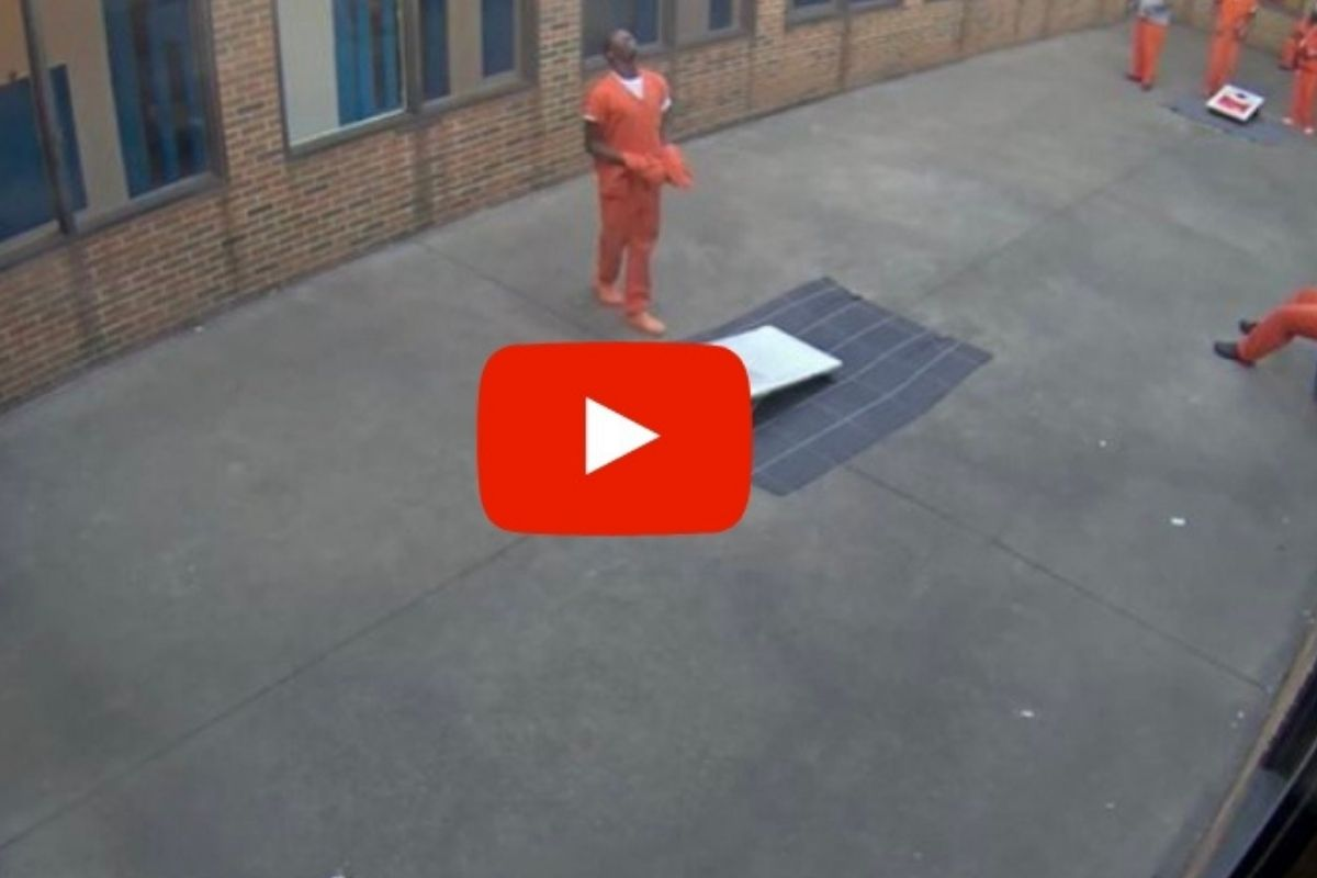 Video Shows Inmate Catching Contraband Dropped By Drone