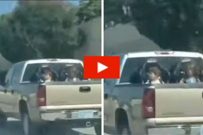 Kids Seen Strapped into Carseats in Truck Bed While Driving Down Highway