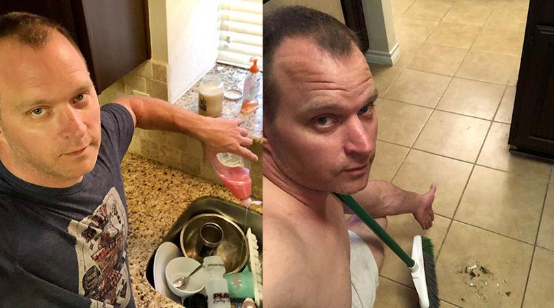 Doing chores naked