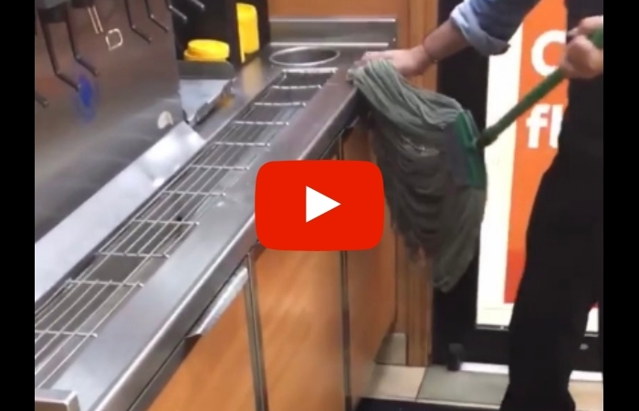 Subway Worker Caught Using Dirty Mop To Wipe Counter