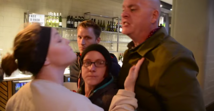 Soccer Hooligan-Looking Brit Punches Female Vegan Activist in Face For Ruining His Meal