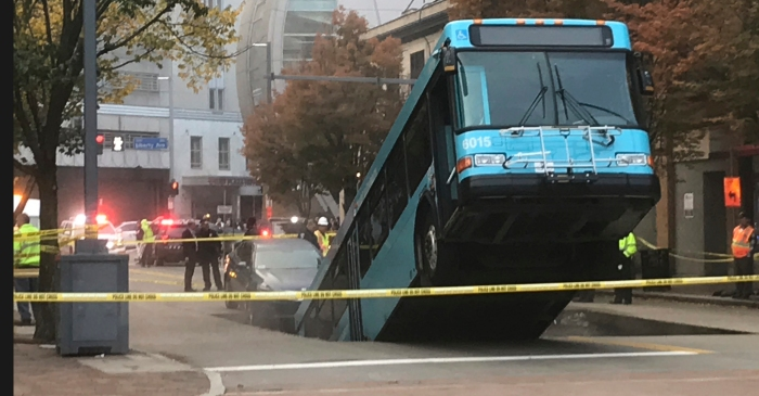 Sinkhole Swallows City Bus During Rush Hour