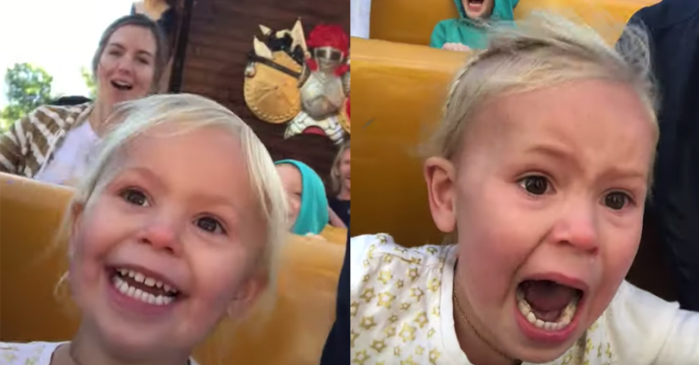 Little Girl on First Roller Coaster Goes From Excited to Terrified Real Fast