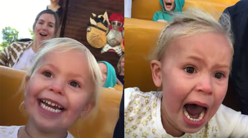 Little Girl First Roller Coaster