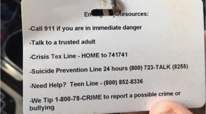 Middle School ID Accidentally Lists Phone Sex Line Instead of Suicide Hotline