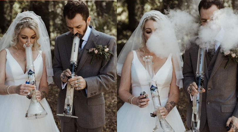 Couple Toast Their Marriage With Mr and Mrs Bongs