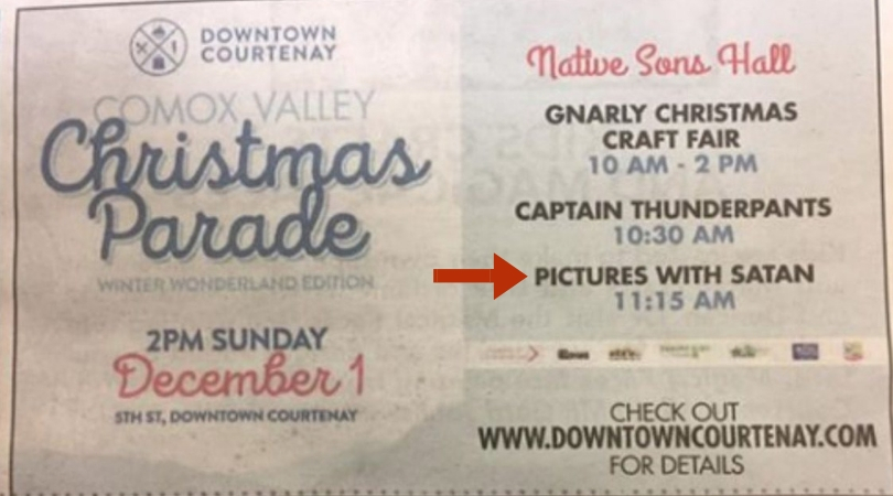 Newspaper Accidentally Runs Ad Promoting Christmas 'Pictures with Satan,' Not Santa