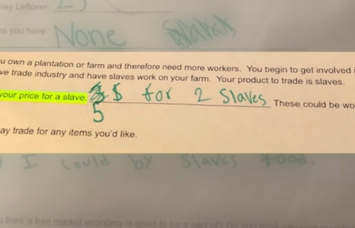 Elementary School Teacher Asks Students to 'Set Your Price' For Slaves