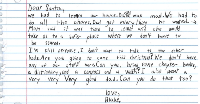 Domestic Violence Shelter Shares Heartbreaking Letter to Santa From 7-Year-Old