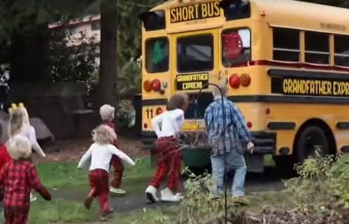 Grandfather Buys School Bus to Take His 10 Grandchildren to School