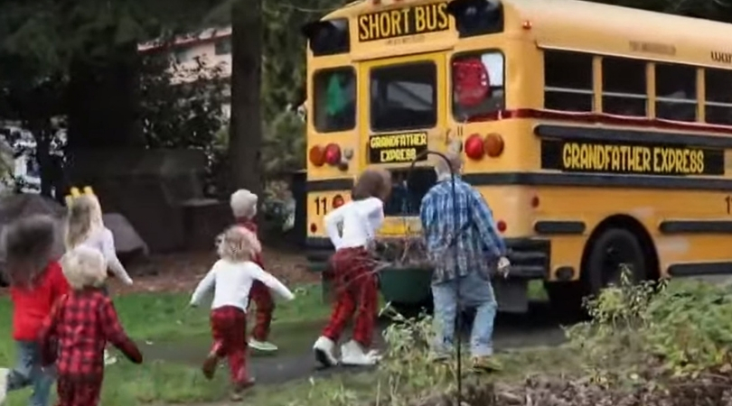 Grandfather Buys School Bus to Take His 10 Grandchildren to School