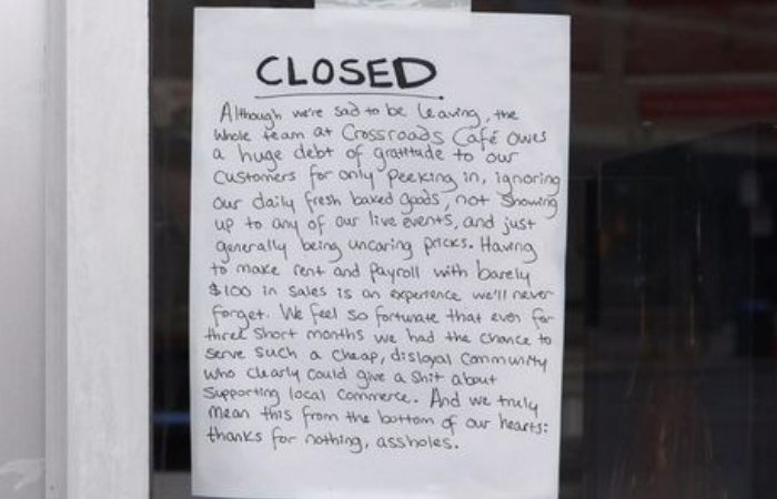 Fake Note Illustrates What Businesses Really Think When They Close