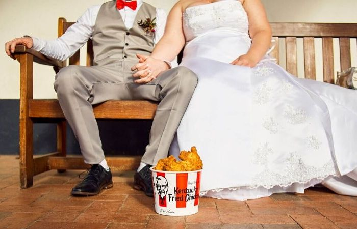 This Couple Had a KFC-Themed Wedding with Personalized Chicken Buckets