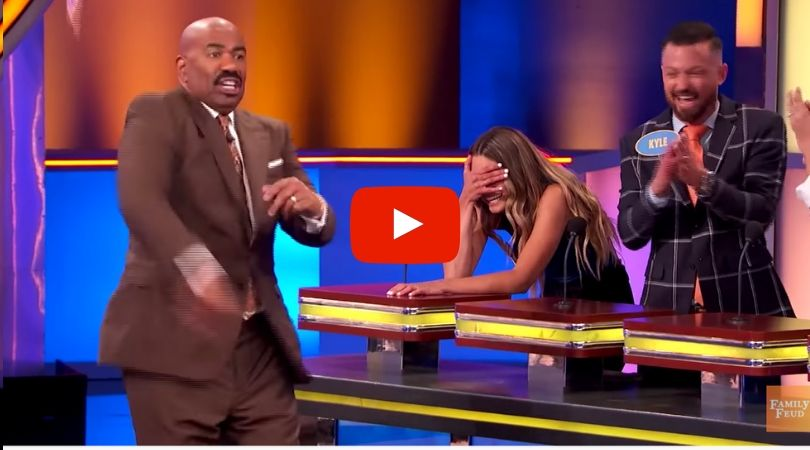 Steve Harvey Tosses His Cards Over Contestant's Risqué Answer on 'Family Feud'