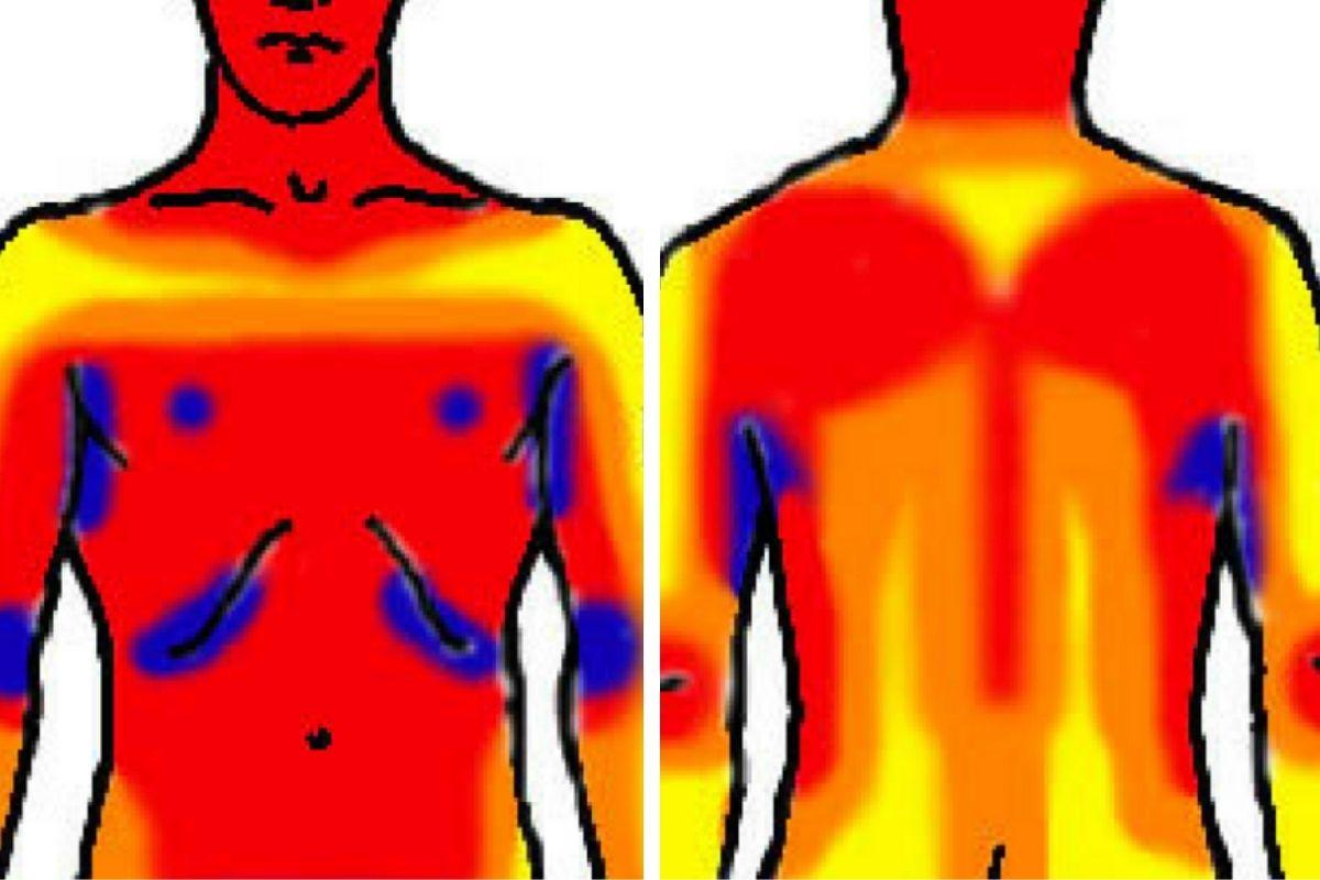 Womans body spots on a weak Muscle weakness: