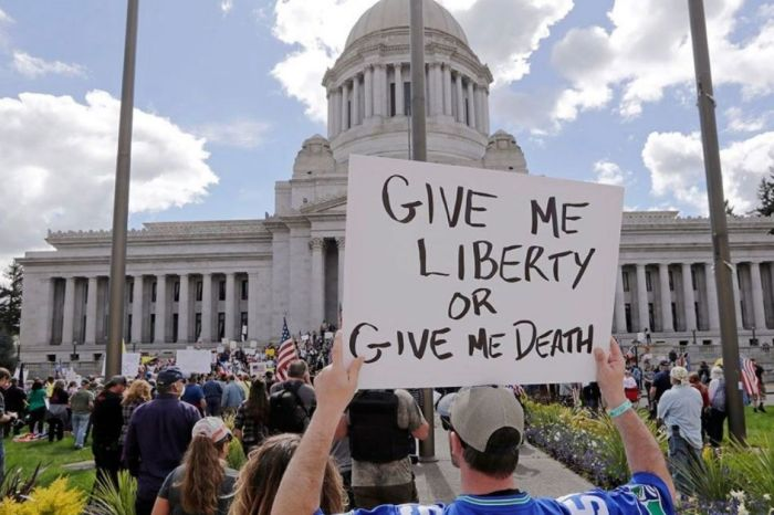 Washington Protests Stay-at-Home Order with 'Give Me Liberty or Give Me COVID-19!'