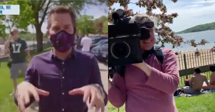 Reporter Shames Man for Not Wearing Mask, Man Points Out No One on His Crew Has Them On