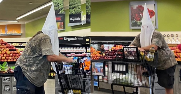 Man Wears KKK Hood to Cover Face While Grocery Shopping