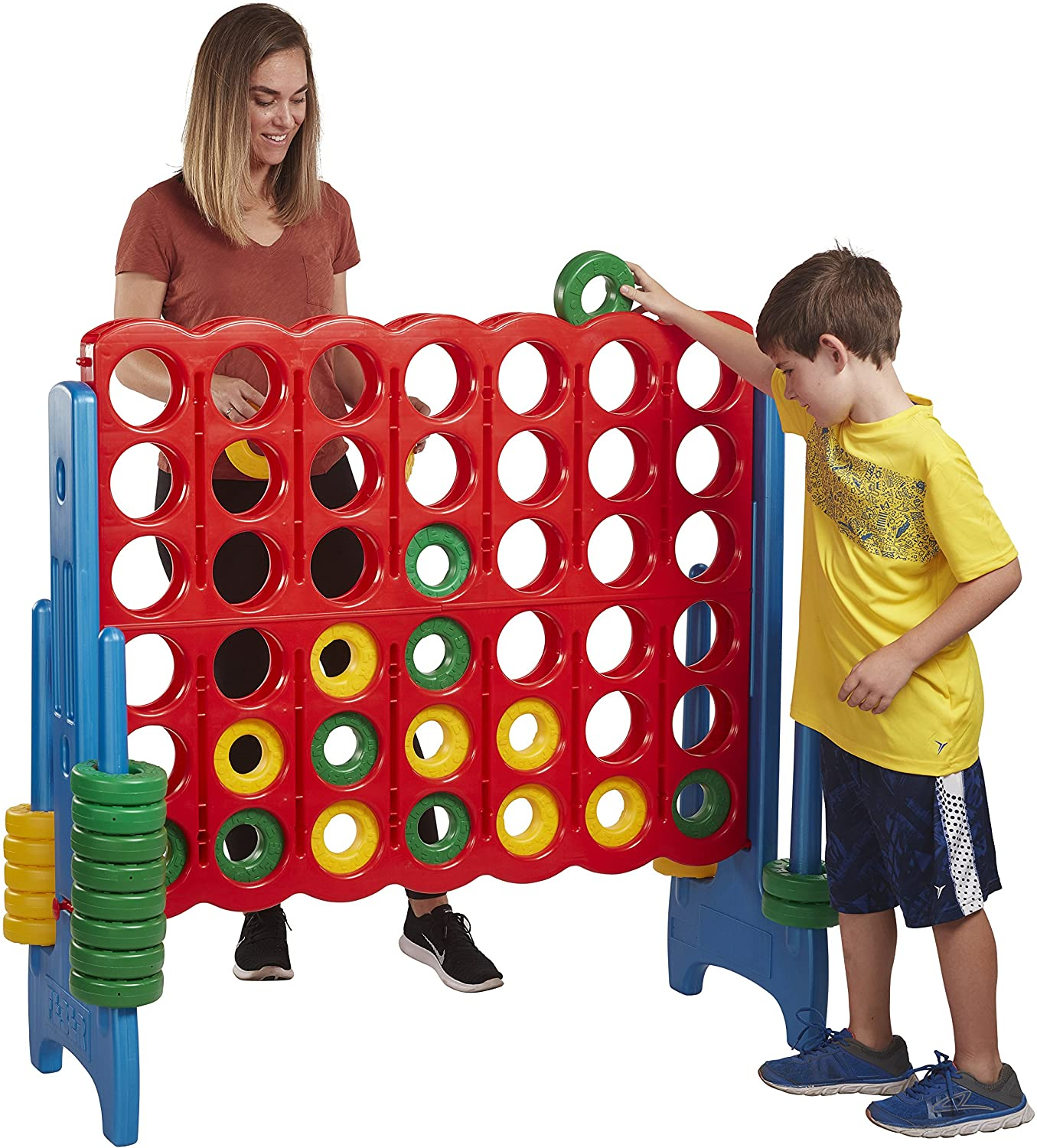 ECR4Kids Jumbo 4-to-Score Giant Game Set, Backyard Games for Kids, Jumbo Connect-All-4 Game Set, Indoor or Outdoor Game, Adult and Family Fun Game, Easy to Transport, 4 Feet Tall, Primary Colors