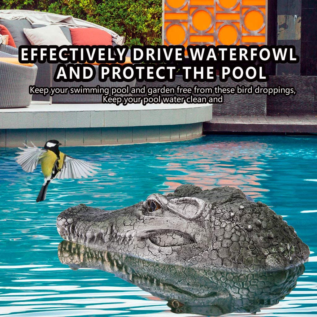 Flytec RC Boat | V005 2.4G Remote Control Electric Racing Boat Simulation Crocodile Head Spoof Funny Toy Water Solution Floating Fake Croc Head Decoy for Pool (from US, Green 1)