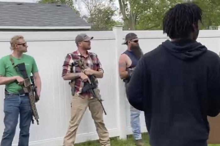 Armed Bystanders Line Street as Black Protesters March in Indiana