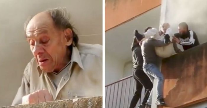 Good Samaritans Climb up Burning Building to Save Elderly Man