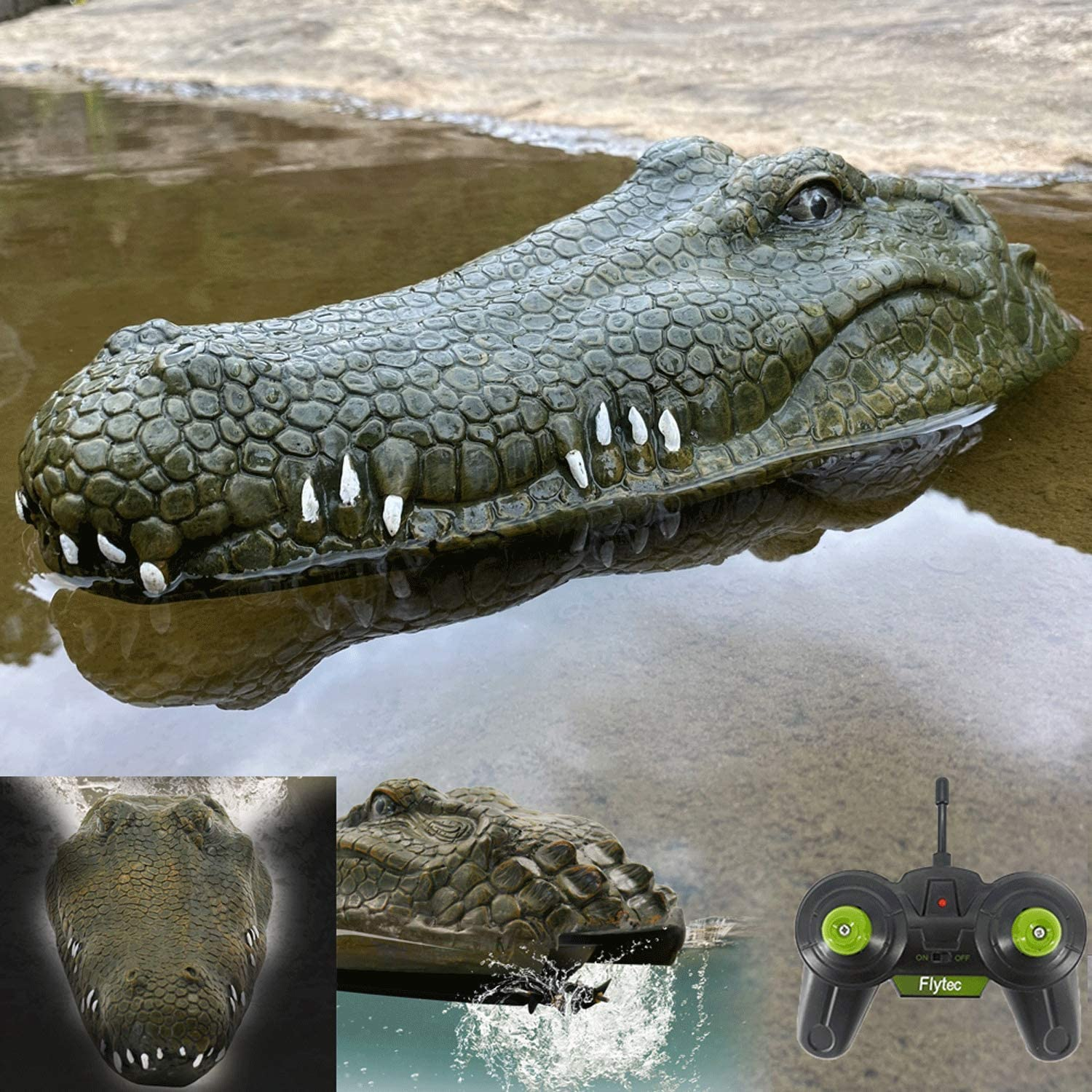 Remote Control Alligator Head Boat - Large Decoy and Floating Crocodile Head for Adults and Boys Prank Pond Toys, RC Boats for Pools and Lakes for Kids