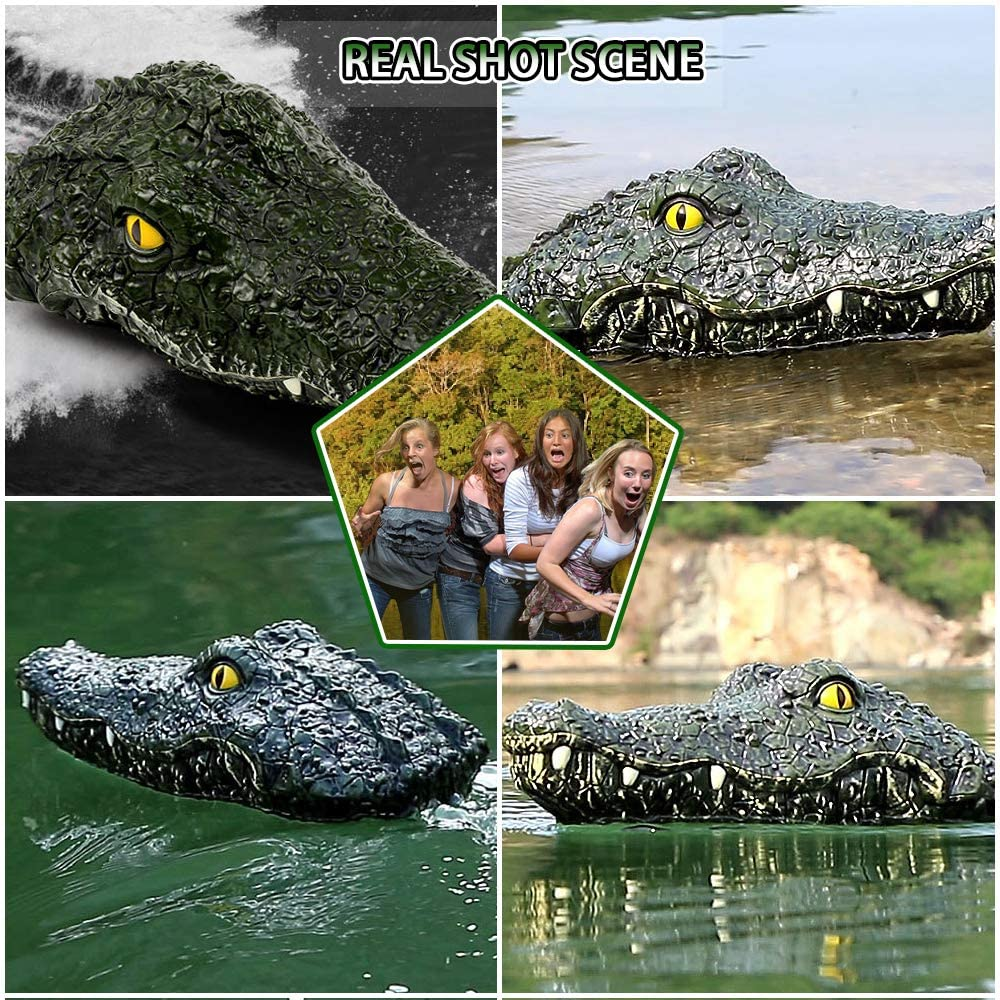 Remote Control Boat for Pools&Lake, 2.4G RC Boat, Simulation Alligator Head Spoof Toy, for Garden Pond Home Decoration Party Gift LEAMBE