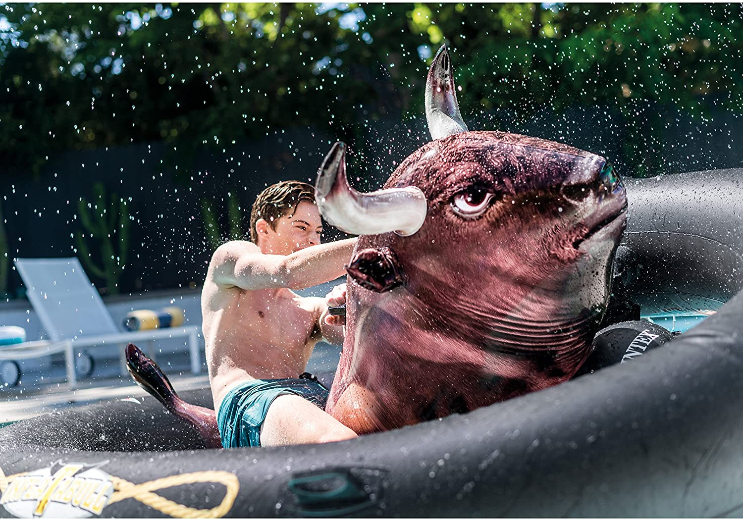"""Intex Inflat-A-Bull, Inflatable Ride-On Pool Toy with Realistic Printing, 94"""" X 77"""" X 32"""", for Ages 9+"""