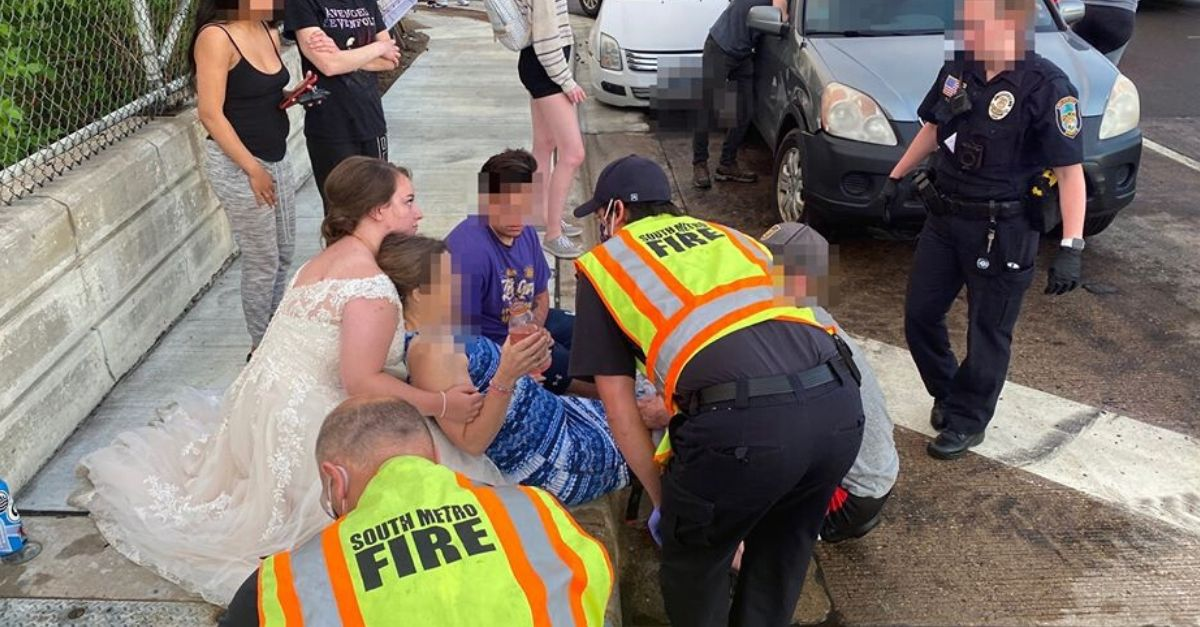 Newlywed Nurse Helps Car Crash Victim While Still in Her Wedding Dress