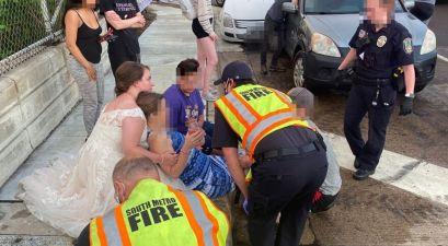 Newlywed Nurse Helps Car Crash Victim While Still in Her Wedding Dress