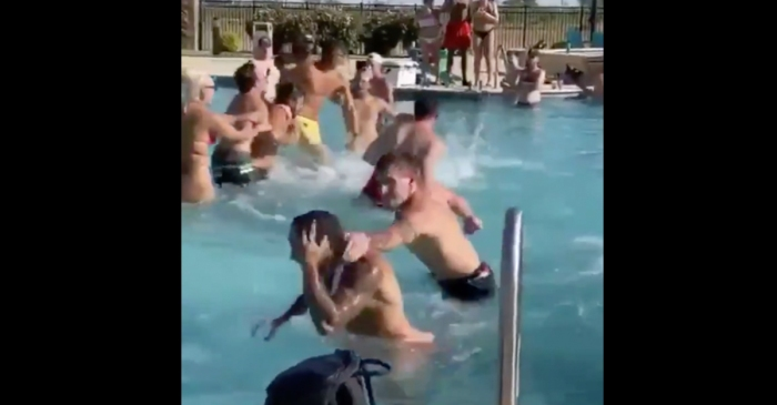 Instead of Social Distancing Drunk College Kids Get Into Huge Brawl at Pool