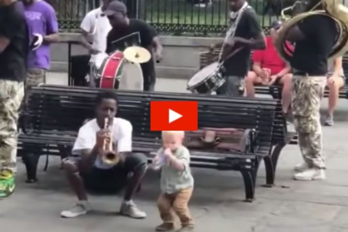 Adorable 1-Year-Old Plays Air Trumpet with New Orleans Street Performers