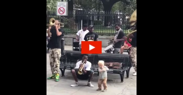 1-Year-Old Toddler Dances With New Orleans Street Performers