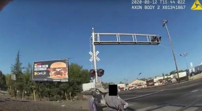 California Cop Saves Man Train