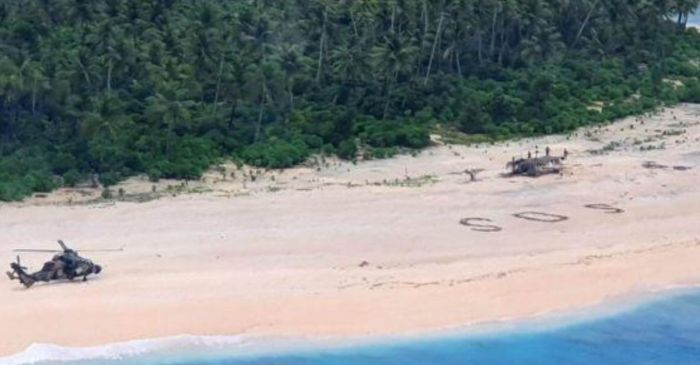 Stranded Men Rescued From Remote Island After Writing SOS in Sand
