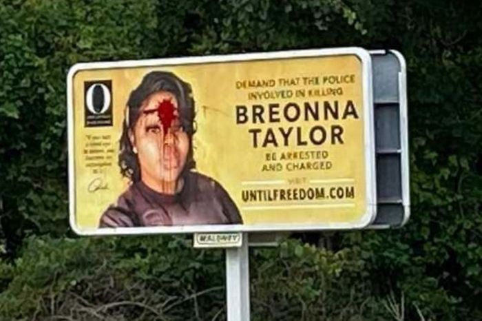 Billboard of Breonna Taylor Vandalized with Red Paint