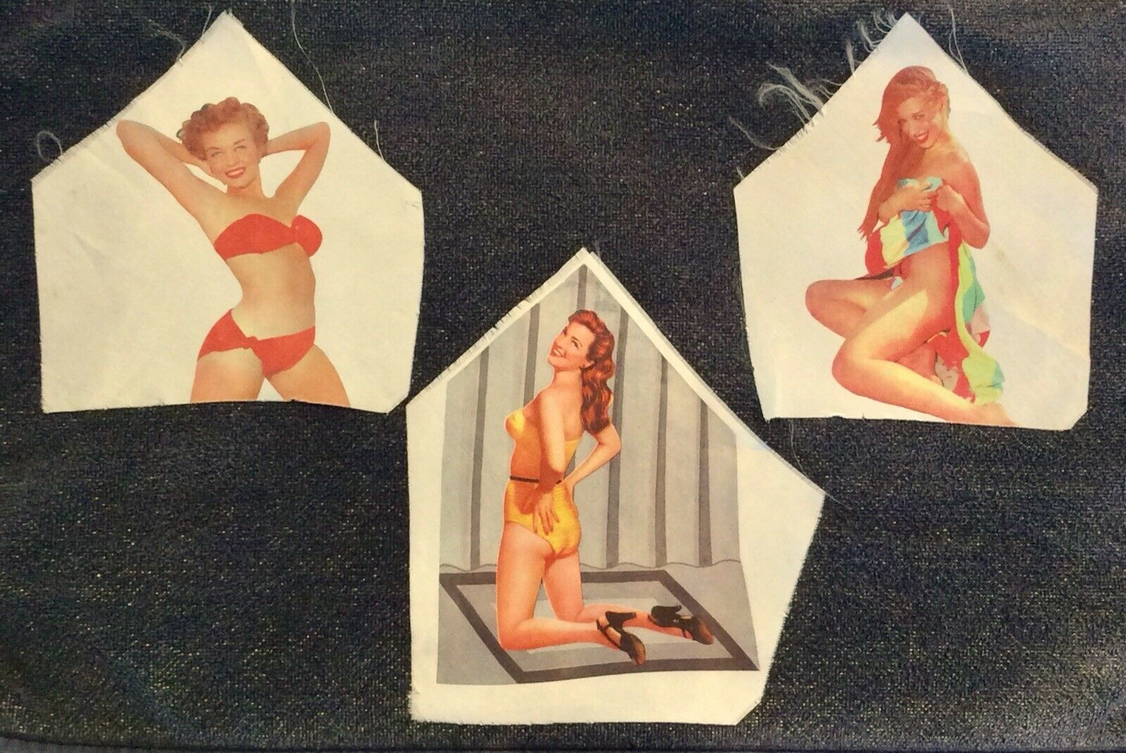 Set Of 3 Vintage Pin Up Girl Peek A Boo Necktie Inserts Risque' Models